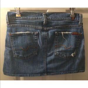 7FAM Denim Mini Skirt Jean Distressed Flare